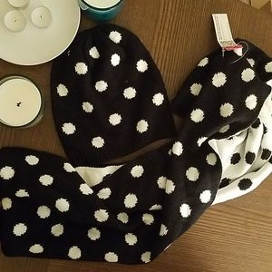 Black and white polka dot hat and scarf set